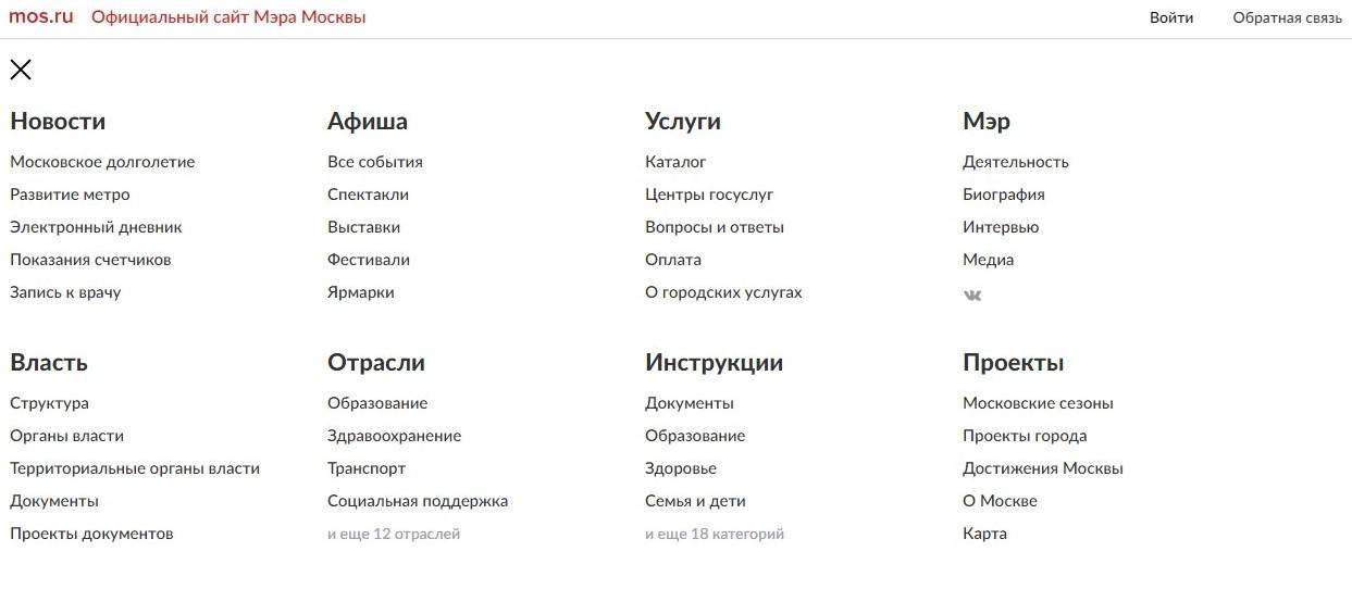 Главное меню веб-сайта. Все услуги разделены на категории.