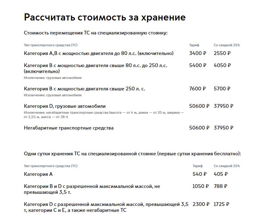 Расчет стоимости пребывания ТС на спецстоянке