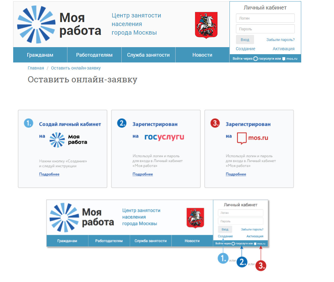 Онлайн заявка на поиск вакансии в ЦЗН МО СРУ